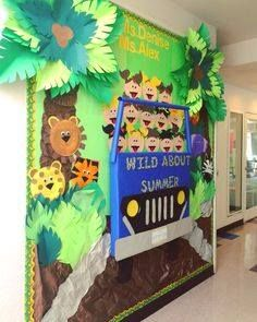 """I am wild about this, """"Wild about Summer"""" jungle themed classroom decoration! - I am wild about this, """"Wild about Summer"""" jungle themed classroom decoration! Jungle Classroom Door, Classroom Board, Classroom Displays, Classroom Themes, Jungle Door, Safari Bulletin Boards, Summer Bulletin Boards, Preschool Bulletin Boards, Bulletin Board Borders"""