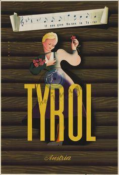 Tyrol - Austria by Arthur Zelger 1950s Vintage Travel Poster