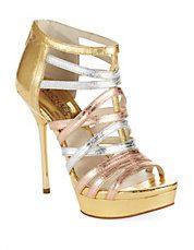 @Michael Kors  Maddie Platform Stilettos #heels #style #gold #silver #copper