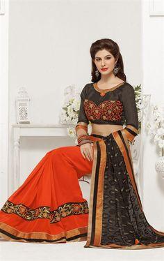 Picture of Magnificient Deep Orange and Black Color Saree