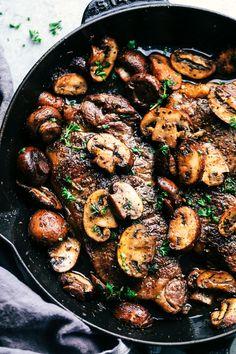 Garlic Butter Herb Steak and Mushrooms Pan Seared Salmon, Tomato Cream Sauces, Dried Tomatoes, Sun Dried, Paella