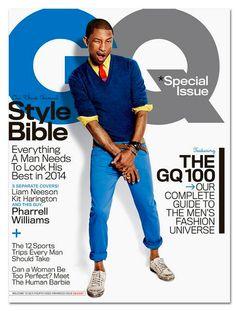 Pharrell Williams en la portada de Abril 2014 de GQ