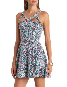 Caged Cut-Out Floral Print Skater Dress: Charlotte Russe