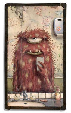 Wood Illustration Fantasy 64 Ideas For 2019 Art And Illustration, Pinguin Illustration, Monster Illustration, Cute Monsters, Little Monsters, Cartoon Monsters, Fantasy Kunst, Fantasy Art, Arte Robot
