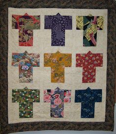 Kimono quilt; found pattern in Singapore; some fabric came from Japan