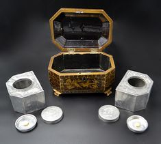 Antique Asian Tea Caddy, Mid Chinese Tea Box With Pewter Inserts Bird Design, Leaf Design, Asian Tea, Tea Canisters, Tea Box, Tea Caddy, Chinese Tea, Vintage Wood, Trinket Boxes