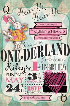 My Riley's 1st birthday invitation!!! Riley in One-Derland!