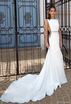 Elihav Sasson 2018 Ivory Simple Sleeveless Fit & Flare Chapel Train Bateau Open Back Charmeuse Rhinestone Spring Bridal Dress - Brand Prom Dresses Wedding Dresses 2018, Bridal Dresses, Prom Dresses, Formal Dresses, Sleeve Dresses, Dresses Elegant, Dream Dress, Bridal Collection, Look Fashion