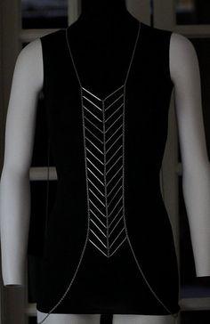 Body Chain Geometric Chevron Silver Armor Designer Runway Fashion Statement Draping Metal Chains Avant Garde @modtoast
