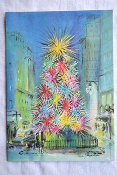 Vintage Christmas Card Mid Century Lighted Tree City Street Scene - By Tv Allen, LA. artwork by Ellenshaw