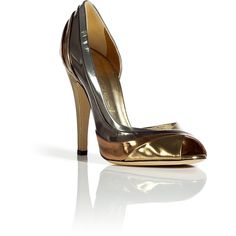 CASADEI Golden Multicolored Barbarella Peep-Toe Pumps ($387) ❤ liked on Polyvore