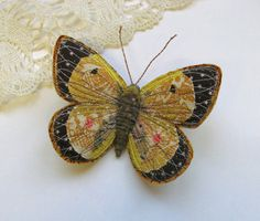 Embroidered butterfly brooch, 'Clouded Yellow'.