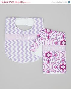 Personalized Burp Cloth and Bib Set - Baby Girl Purple and Fuchsia Medallions and Chevron