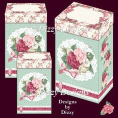 Flowers and Lace Gift Boxes - £0.63 : Instant Card Making Downloads