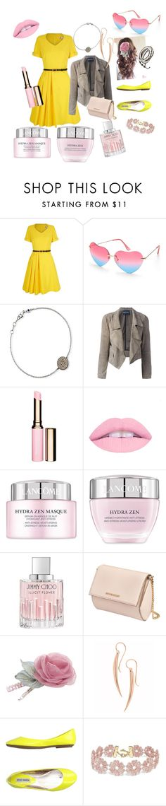 """Dinner girl"" by mustash1 ❤ liked on Polyvore featuring Yumi, Beauty & The Beach, Astley Clarke, Emporio Armani, Clarins, Lancôme, Jimmy Choo, Givenchy, Chicnova Fashion and Dinny Hall"