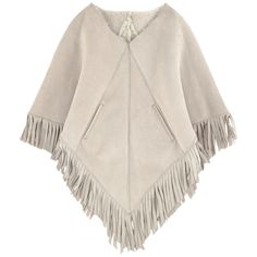 Made in France Right side: Sheepskin Lining: sheep wool Soft material Pleasant to wear Warm item Perfect to protect from the cold Triangular shape Pointed cut at the bottom Slant pockets Fancy fringes - $ 909