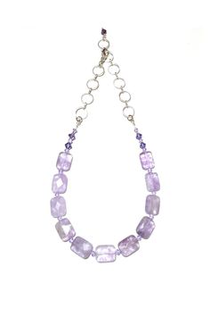 """Beautiful hand-crafted Lavender Amethyst necklace. Made with Swarovski crystals on a stainless steel chain.Lovely lavender hues make it a stunning compliment to a variety of wardrobe styles and colors.  Measures: 15"""" x 20"""" L  Lavender Amethyst Necklace by Leocadia Designs. Accessories - Jewelry - Necklaces Wisconsin"""
