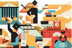 "Illustrations for Fortune magazine's ""100 Best Companies to Work for"" package."