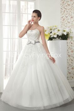 fancyflyingfox.com Offers High Quality Ivory Tulle Dipped Neckline Floor Length Ball Gown Wedding Dresses With Lavender Sash ,Priced At Only US$225.00 (Free Shipping)