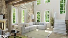 Гостиная достаточно просторная, со вторым светом и лестницей на второй этаж. Отделка классическая для прованса, деревянный пол, балки под потолком, стены частично выполнены из декоративного камня, частично отштукатурены.