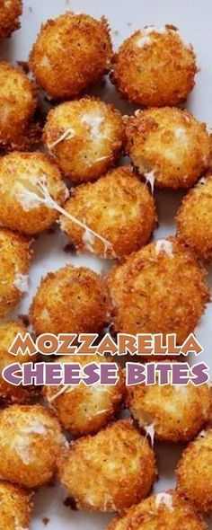 Mozzarella Cheese Bites- would convert to cook in the air fryer Finger Food Appetizers, Yummy Appetizers, Appetizer Recipes, Easy Finger Food, Finger Food Recipes, Keto Finger Foods, Cheese Recipes, Cooking Recipes, Cooking Cake