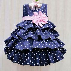 Christmas Girl Dress Blue Dot Princess Party Dresses with Pink Belt Layer Kids Girls Summer Clothes for (Mainland))In this fashion world, Frock design is growing day by day and all the people are getting its effect. It is true that human mind has bee Girls Frock Design, Kids Frocks Design, Baby Frocks Designs, Baby Dress Design, Kids Party Wear Dresses, Dresses Kids Girl, Kids Outfits, Frock Patterns, Kids Dress Patterns