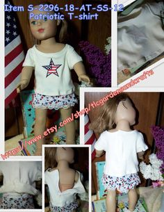 Patriotic T-shirt for 18 inch Doll    Item by tlcgardensandcrafts