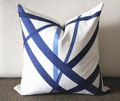 Kelly Wearstler Channels Pillow Cover - Blue Pillow - Designer Geometric Pillow Cover 296