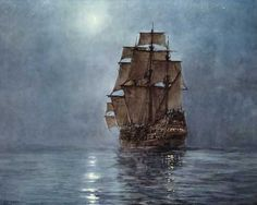 Montague Dawson Crescent Moon painting for sale - Montague Dawson Crescent Moon is handmade art reproduction; You can shop Montague Dawson Crescent Moon painting on canvas or frame. Moon Painting, Painting & Drawing, Turner Painting, Montague Dawson, Old Sailing Ships, Ship Paintings, Ship Art, Moon Art, Tall Ships