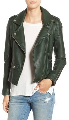 Blank NYC 'Easy Rider' Faux Leather Moto Jacket Was $98 Now $59.90 At Nordstrom Soft pebbled faux leather slim jacket epaulets snap lapels https://api.shopstyle.com/action/apiVisitRetailer?id=616079430&pid=uid841-37799971-81