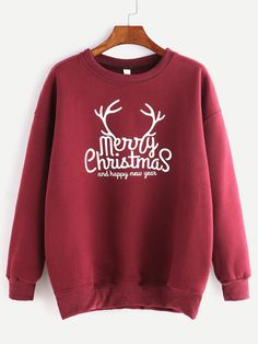 Shop Burgundy Ribbed Trim Christmas Print Sweatshirt at victoriaswing, personal womens clothing online store! high quality, cheap and big discount, latest fashional style! Christmas Tops, Christmas Shirts, Christmas Sweaters, Christmas Print, Merry Christmas, Christmas Hoodie, Earl Sweatshirt, Sweatshirt Outfit, T Shirt