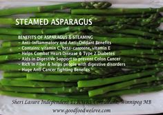 """BENEFITS OF ASPARAGUS & STEAMING - Anti-Inflammatory and Anti-Oxidant Benefits - Contains: vitamin C & E - Combats Heart Disease & Type 2 Diabetes - Rich in Fiber & helps digestion -  Anti Cancer fighting Benefits Great Ideas for SteamedAsparagus: Add to one of your favorite #SaladRecipes or Toss in with your favorite #PastaRecipes  Steaming Asparagus & other Healthy Veggies helps keep Vitamins in & steaming  Veggies only takes about 5 min. For more info check out """"Good Food We Love"""""""