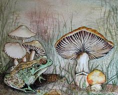 Mushrooms Paintings - Watcher at the Pond by Susan Duxter