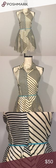 Cream & Black Geometric Dress w/ Teal Waist Accent Collared dress with a drop back. One of a kind dress. I bought it from a boutique. Cream and black geometric design with a teal waist line accent.   ✨Remember I can't accept an offer if you don't make one! Ara Dresses