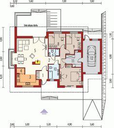 Rzut AC Franczi III G1 ECONOMIC (wersja A) CE Dream House Plans, House Floor Plans, Small Modern House Plans, Simple House, Flooring, How To Plan, House Styles, Building, Houses