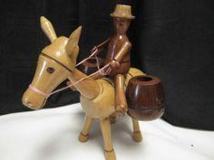 Vintage Match Holder Man On Donkey Wooden Man On Horse Match Tooth Pick Holder
