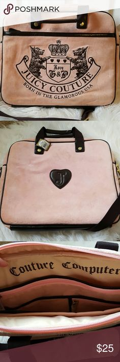 Juicy Couture Pink Laptop Bag Retail $128 Please read prior to purchasing.  NWT however this was a floor sample and shows some signs of wear on corners and velour.  Interior zippers still in original tissue.  Great for school! Juicy Couture Accessories Laptop Cases