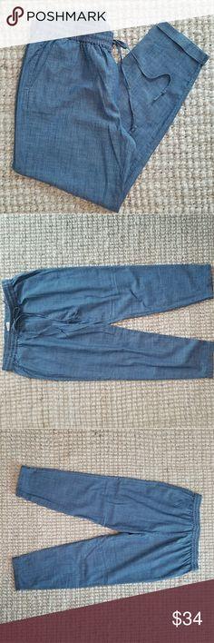 Chambray Cotton Drawstring Pants J. Crew FACTORY  Size 8 NWT J. Crew Factory Pants