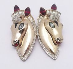 STERLING-CORO-CRAFT-Duette-HORSE-HORSES-Clip-Brooch-Pin-NO-RESERVE