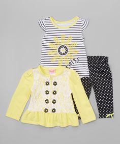 Yellow Daisy Cardigan Set - Toddler by Nannette Girl #zulily #zulilyfinds