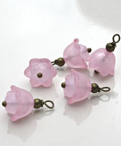 Bead Dangles Antique Brass  Pink Baby Bell Lucite Flower Bead Dangle with 6x4mm Opaque Pink Rondelle Charm Dangle (5)