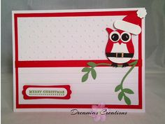 Hand made Christmas Card with Santa Owl by DreamiasCreations, $4.00
