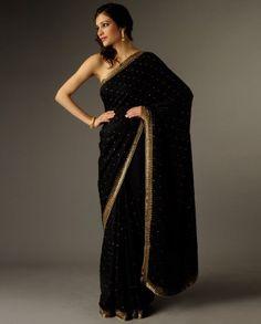 black ushan mals sari $249