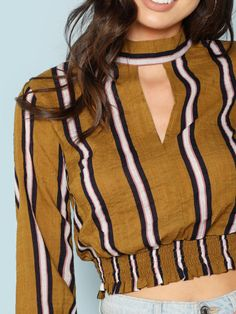 Striped Cropped Long Sleeve Blouse -SheIn(Sheinside) Saree Blouse Neck Designs, Kurti Neck Designs, Blouse Designs, Chic Outfits, Pretty Outfits, Fashion Outfits, Indian Fashion Trends, Dress Sketches, Blouse Vintage
