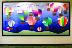 Church Donor Walls Designs by W. Air Balloon, Balloons, Donor Wall, Blue Wood, Ravenna, Classroom Decor, Wall Design, Activities, Monmouth County