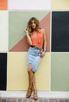 Check out these chic denim skirt outfit ideas and products at @stylecaster | Rocky Barnes
