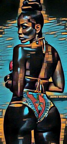 Sexy Black Art, Black Girl Art, Art Girl, Black Art Painting, Black Artwork, Sexy Painting, Dope Kunst, Bd Art, Arte Black
