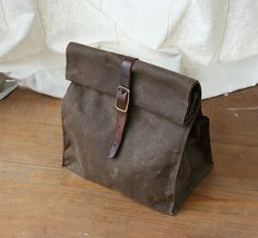 Dark Brown Waxed Canvas Lunch Bag by overlap on Etsy, $48.00. This is the COOLEST lunchbag ever!!