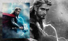 #Thor illustration #avengers - inLite Illustrations & Design Thor, Avengers, Typography, Photoshop, Illustration, Fun, Fictional Characters, Design, Fin Fun
