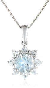 "14k White Gold Aquamarine and White Topaz Solitaire Pendant Necklace, 18"""